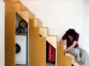 washer under stairs